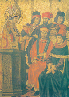 Augustine listening to Ambrose, whose sermons greatly influenced Augustine and his conversion. (Jaime Huguet, 1463-80)